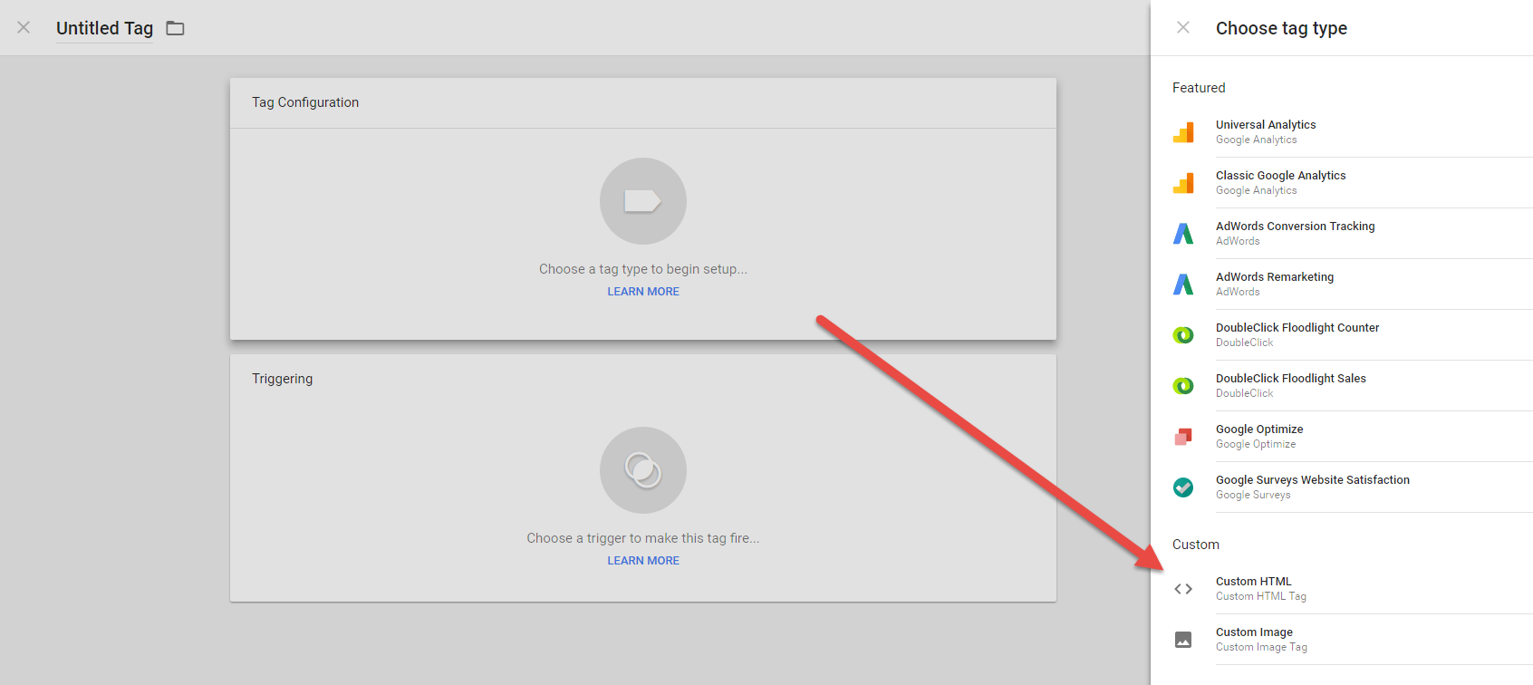 Google Tag Manager interface