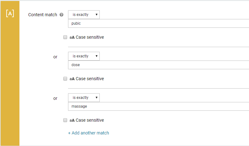 Example of a content match policy flagging terms from our commonly misused words list.
