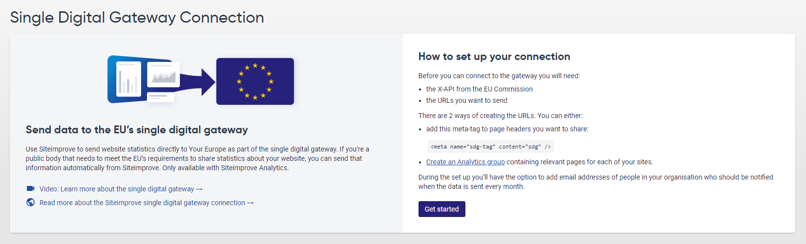 Screenshot of the Single Digital Gateway Connection page that lets users set up their connection.