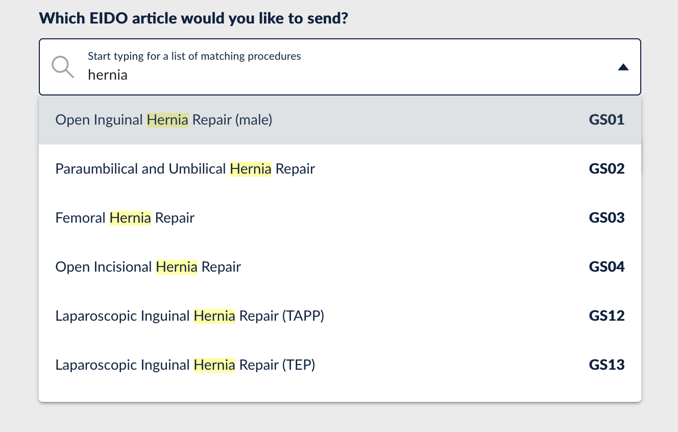 search for hernia showing results