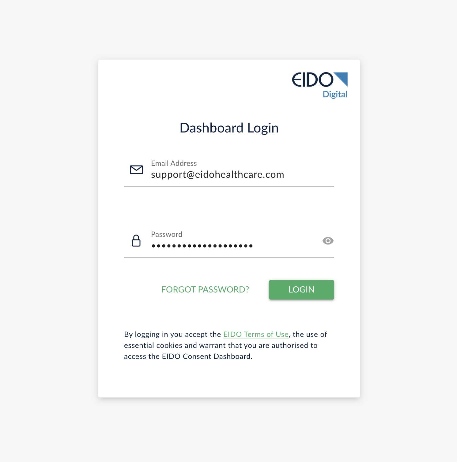 login page for email address and password