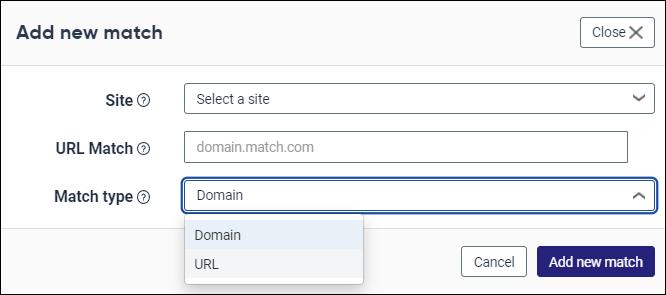 Add new domain modal in Analytics
