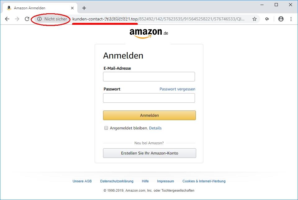 """Gefälschte Amazon E-Mail: die klassische Phishing-E-Mail zeigt auf eine falsche Domain (hier .top) und ist auch durch den Browser als """"Nicht sicher"""" gekennzeichnet"""