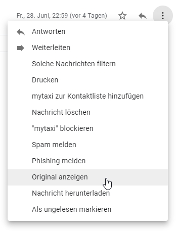 Gmail zeigt auf Wunsch den Original-Code jeder Mail