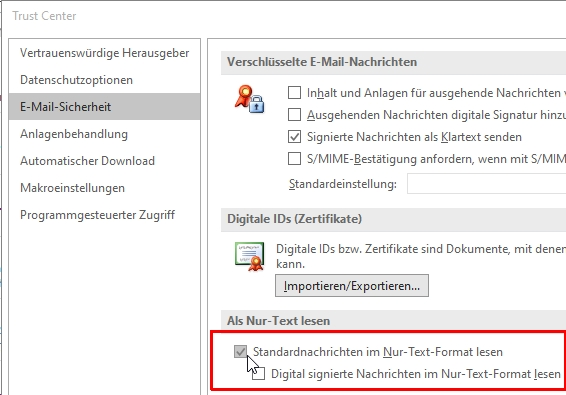 Die Mail-Anzeige in Outlook lässt sich auch auf Nur-Text umstellen.