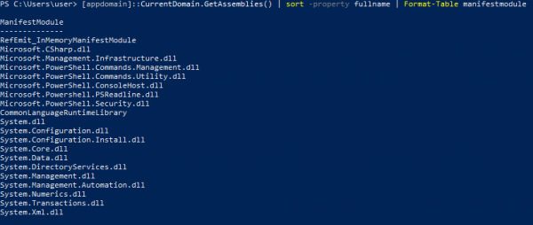 2 loaded assemblies with powershell