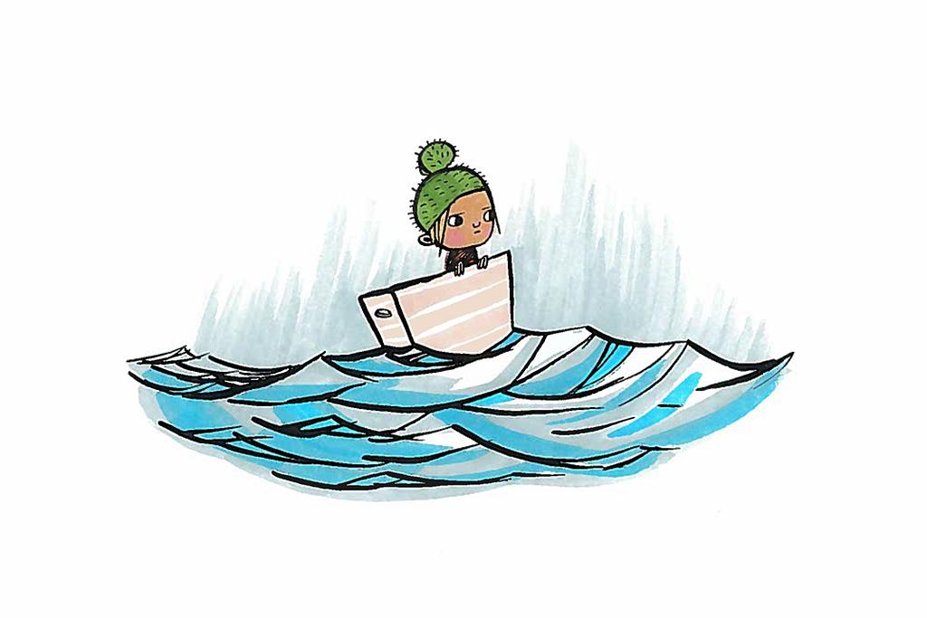 Ninka Reitun piirroksessa on pakolaislapsi yksin laatikossa merellä.