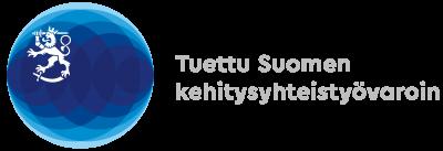 Suomen ulkoministeriön logo. Sen yhteydessä teksti Tuettu Suomen kehitysyhteistyövaroin.