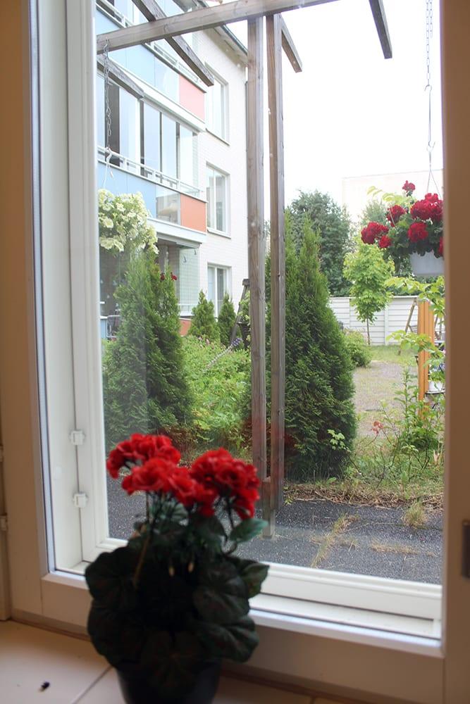Koukkusaaren asumisyksikön ikkunalla kukkasia