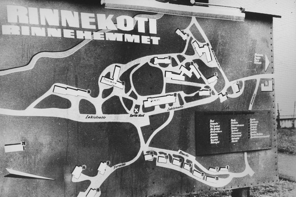 Mustavalkoinen kuva Rinnekodin alueen kartasta