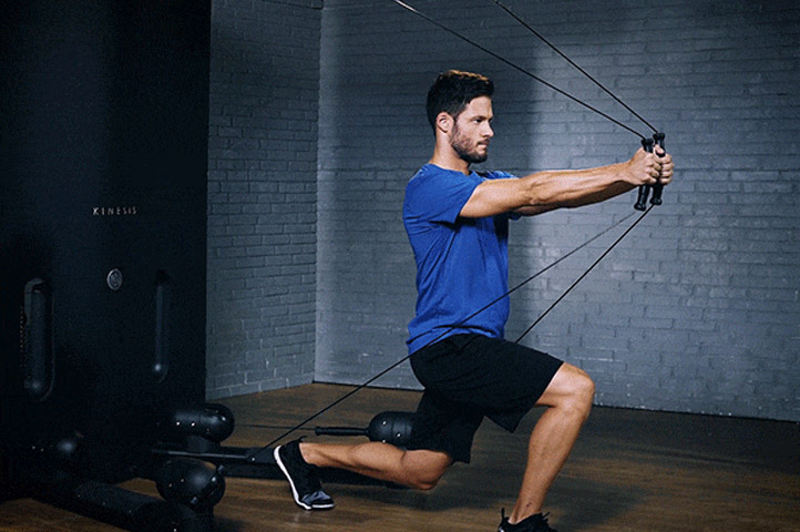 tutorial kinesis lunge to chest press