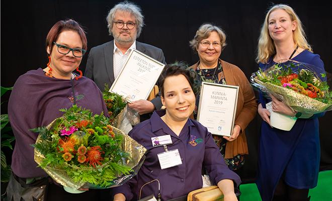 Kuvassa Esteetön Suomi 2019 palkitut