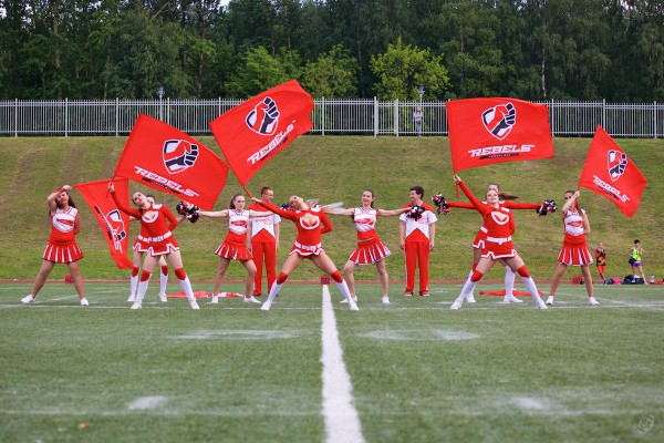 Rebels cheerleading crew on the prematch show