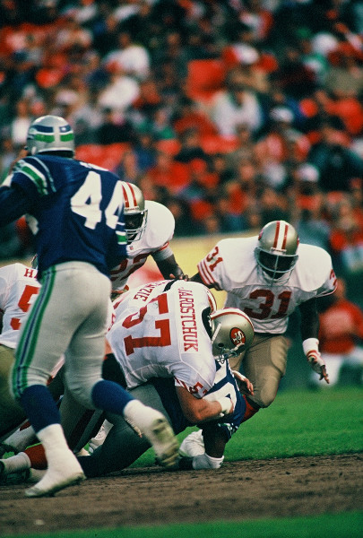 49ers vs Seahawks (08-26-1992) color scan - making tackle
