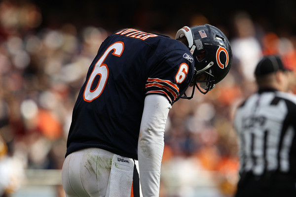 CHICAGO - OCTOBER 24: Jay Cutler #6 of the Chicago Bears reacts after throwing an interception against the Washington Redskins at Soldier Field on October 24, 2010 in Chicago, Illinois. The Redskins defeated the Bears 17-14. (Photo by Jonathan Daniel/Getty Images) *** Local Caption *** Jay Cutler