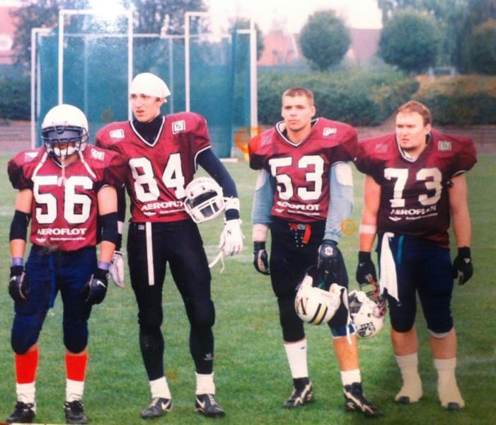 Александр Скапишев, Александр Хохлов, Алексей Панков и Руслан Курбанов на чемпионате северных стран 1999 года