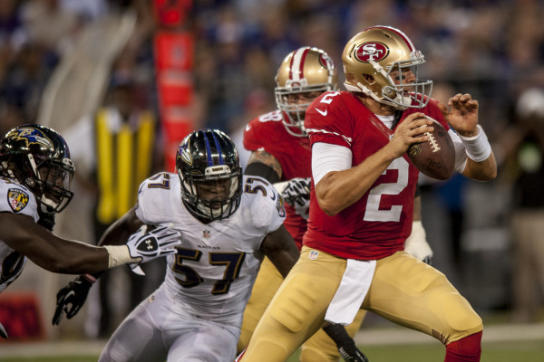 San Francisco 49ers' quarterback Blaine Gabbert passes the ball in the second quarter against the Baltimore Ravens during their pre-season game at M&T Bank Stadium on August 7, 2014 in Baltimore, Maryland. UPI/Pete Marovich