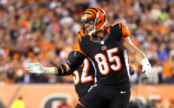 Nov 5, 2015; Cincinnati, OH, USA; Cincinnati Bengals tight end Tyler Eifert (85) reacts after scoring a touchdown during the second quarter against the Cleveland Browns at Paul Brown Stadium. Mandatory Credit: David Kohl-USA TODAY Sports