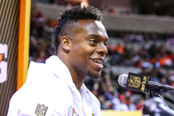 01 FEB 2016: Denver Broncos inside linebacker Brandon Marshall (54) during Super Bowl 50 Opening Night held at the SAP Center in San Jose California.(Photo by Rich Graessle Icon/Sportswire)