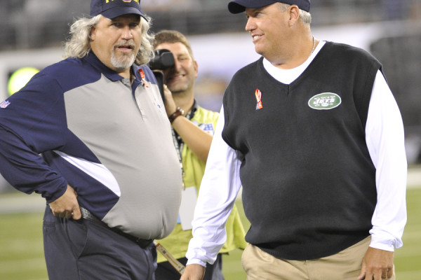 ORG XMIT: RD 40781 Cowboys jets 9/11/2011 9/11/11 7:21:11 PM -- Meadowlands, NJ, U.S.A -- Dallas Cowboys at New York Jets NFL regular season game week 1. -- Rob (l) and Rex Ryan at MetLife Stadium at the Meadowlands in NJ Photo by Robert Deutsch, USA TODAY Staff [Via MerlinFTP Drop]