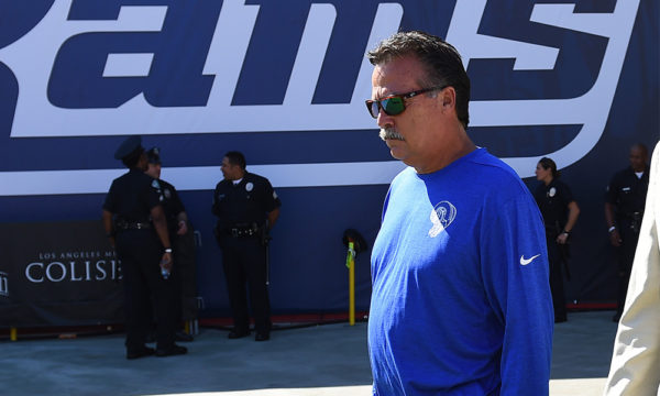 Sep 18, 2016; Los Angeles, CA, USA;  Los Angeles Rams head coach Jeff Fisher walks to the field before the game against the Seattle Seahawks at Los Angeles Memorial Coliseum. Mandatory Credit: Jayne Kamin-Oncea-USA TODAY Sports