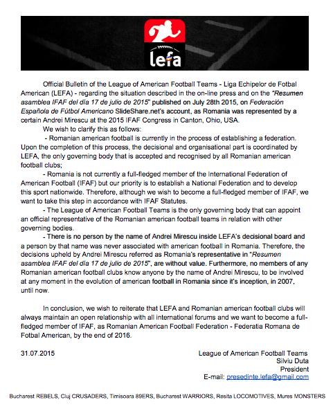 Открытое письмо Румынской федерации. Источник: AFI