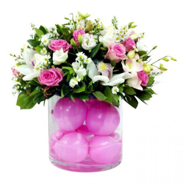 Βάζο-σωλ.-με-σύνθεση-από-τριαντάφυλλα,-λυσίανθο-και-ορχιδέες