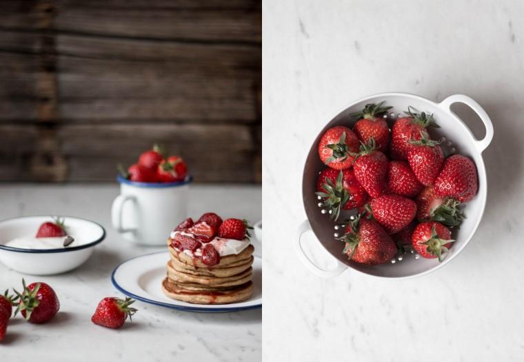 Mandel Pancakes mit Holunderblüten-Ricotta & gerösteten Erdbeeren {flowers on my plate}