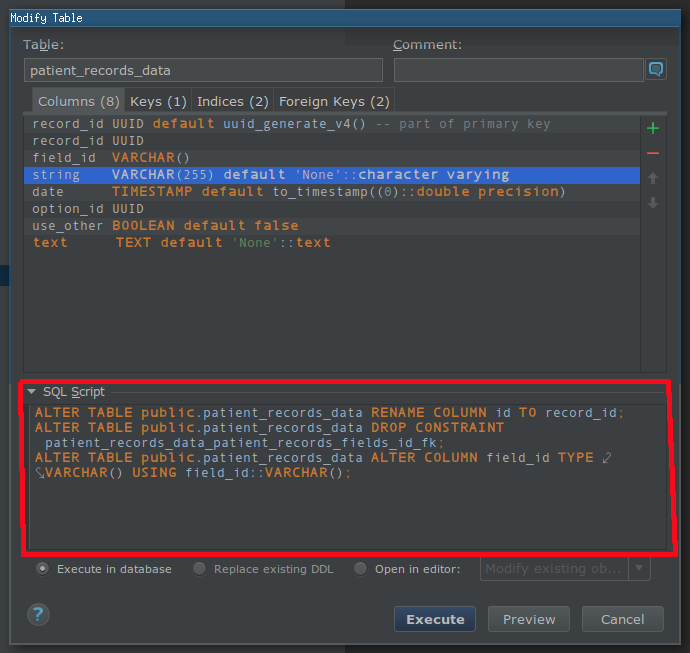 Editing a PostgreSQL table in DataGrip IDE