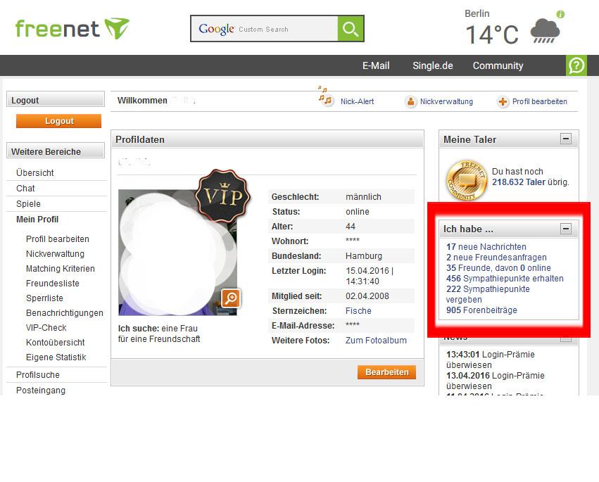 Freenet single.de app