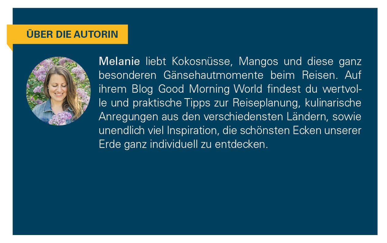 Kurzbeschreibung der Autorin Melanie.