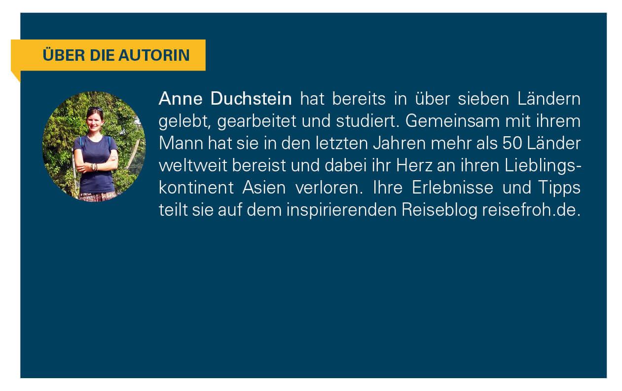 Kurzbeschreibung der Autorin Anne Duchstein.