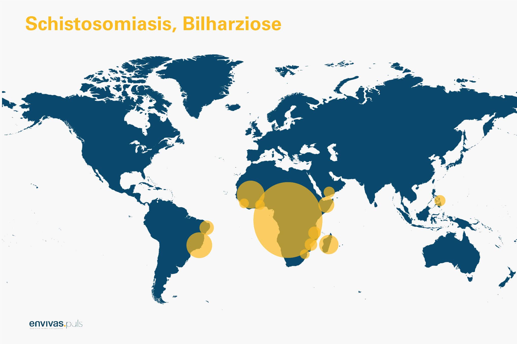 Weltkarte zu Bilharziose-Vorkommen - Grafische Darstellung