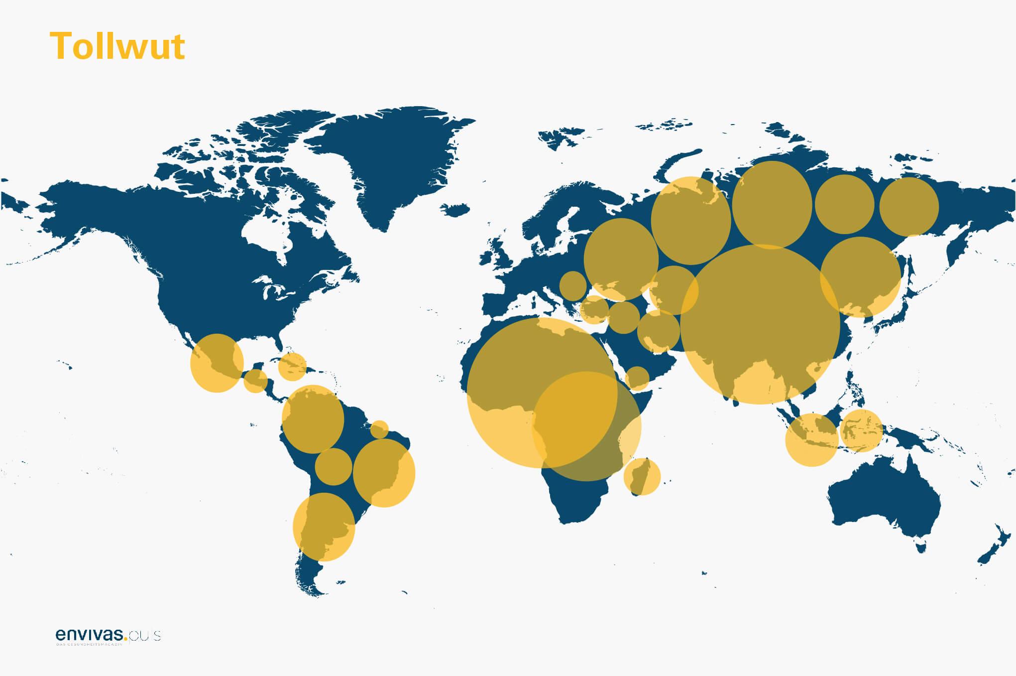Weltkarte zeigt Tollwutvirus-Verbreitungsgebiete - Grafische Darstellung
