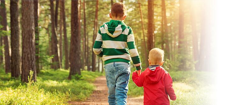 Junge führt kleines Kind an der Hand durch einen Wald.