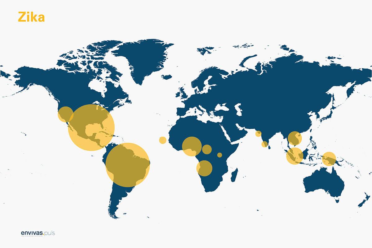 Weltkarte zeigt Zika-Virus-Verbreitung - Grafische Darstellung