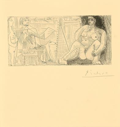 Picasso Pablo, Dans l'atelier:  peintre, modèle et spectatrice