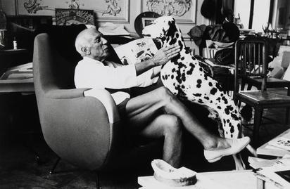 Quinn Edward, 2 Fotografien:  Picasso mit seinem Dalmatiner;  Picassos Atelier in der Villa  La Californie bei Cannes