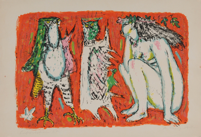 Carigiet Alois, 2 sheets:  Confrontation, 1958;  Zwei Frauen
