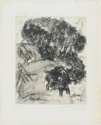 """Chagall Marc, Le Lion et l'Ane Chassant  aus """"Les Fables de La Fontaine"""""""