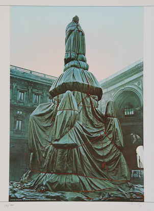 Christo, Wrapped Monument to Leonardo,  Project for Piazza della Scala, Milan