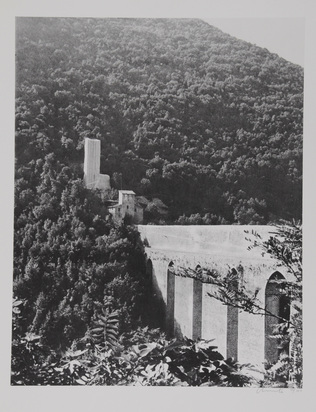 "Christo, 2  sheets from ""Packed Fountain and Packed Tower, Spoleto, 1968"""