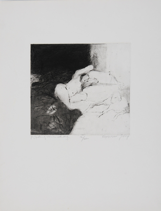 Boussidan Yaakov, 4 sheets:  Egg in Box;  Two Figures, 1968;  Object, 1969; Reading Woman With Dog