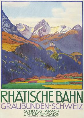 Cardinaux Emil, Rhätische Bahn Graubünden-Schweiz Schloss Tarasp Unterengadin