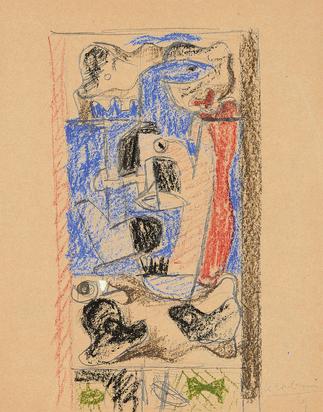 """Corbusier Le, 5 drawings for the painting  """"Composition avec cafetière et silex"""", 1929:  Dessin n°1:  Nature morte avec cafetière, théière, carafe et verre; Dessin n°2:  Nature morte avec cafetières, carafe et verre;  Dessin n°3:  Nature morte avec cafetière, carafe et silex;  Dessin n°4:  Nature morte avec cafetières, carafe, verre, silex et coquillage;  Dessin n°5:  Nature morte avec cafetières, carafe, verre, silex et coquillage"""