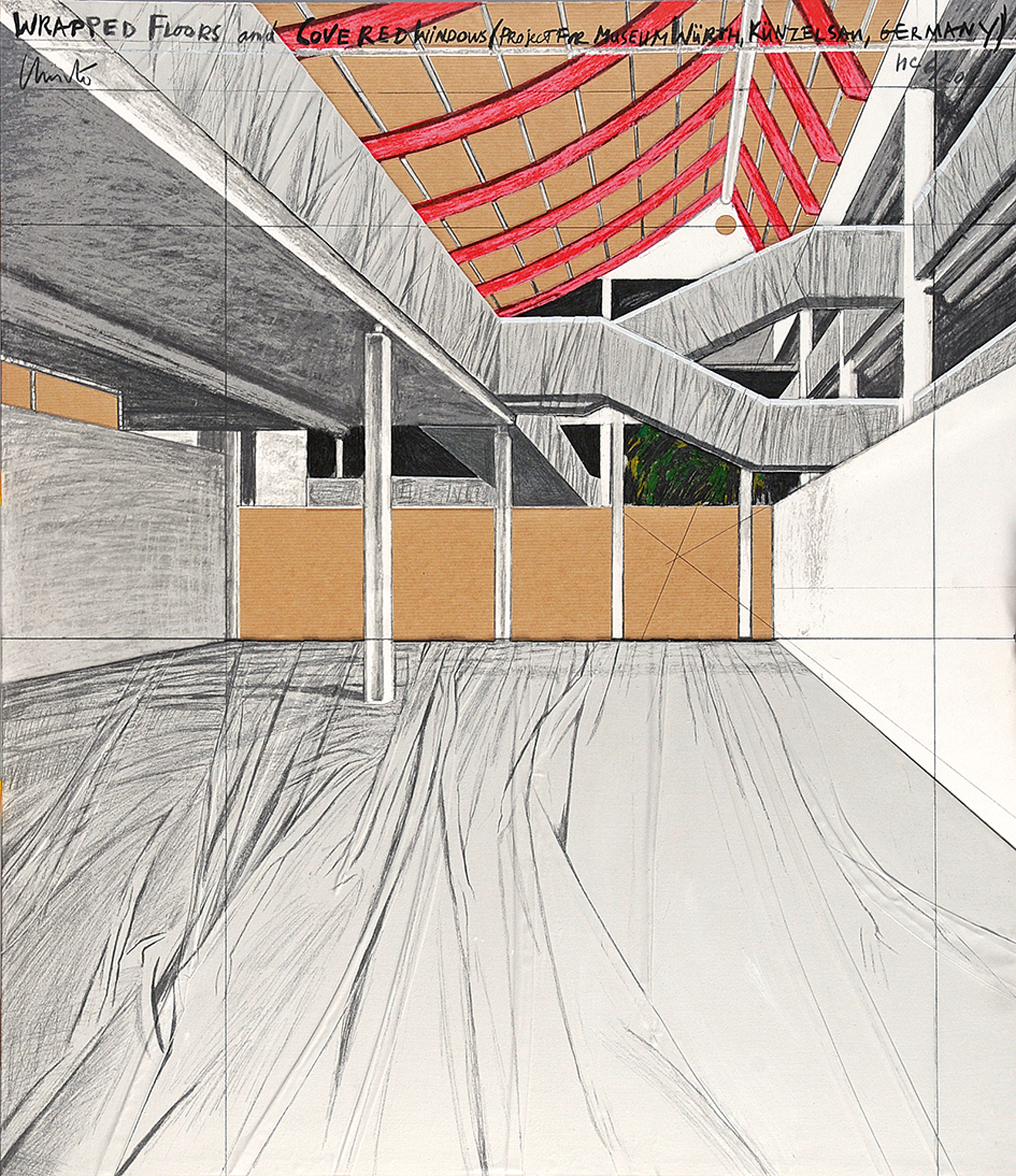 Christo, Wrapped Floors and Covered Windows, Project for Museum Würth, Künzelsau, Germany