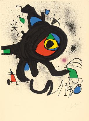 """Miró Joan, Affiche pou l'exposition """"Oeuvre gravé original"""", Musée de l'Athénée, Genève"""