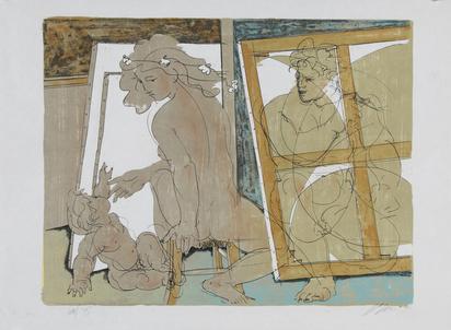 Erni Hans, Mutter und Kind im Atelier des Künstlers