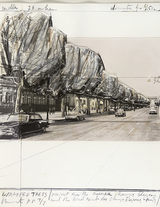 "Christo, Wrapped Trees, Project for the Avenue des Champs-Elysées, Paris, aus ""Five Urban Projects"""