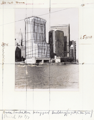 "Christo, Lower Manhattan Wrapped Building, Project for New York, aus ""Five Urban Projects"""